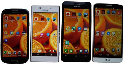 фото Asus Zenfone 5, Samsung Galaxy S3 Duos, Sony Xperia M2, LG G3 Stylus сравнение