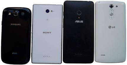 фото Asus Zenfone 5, Samsung Galaxy S3 Duos, Sony Xperia M2, LG G3 Stylus сравнение оборотная сторона