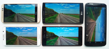 фото LG G4, Samsung Galaxy S6, HTC One M9, Nexus 6, Sony Xperia Z3 сравнение дисплеев