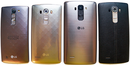 фото LG G4, LG G4s, LG G4c, LG G4 Stylus сравнение оборотная сторона