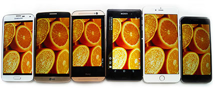 фото Lg G3, Sony Xperia Z3, Samsung Galaxy S5, HTC One M8, Apple iPhone 6, Apple iPhone 6 Plus сравнение дисплеев