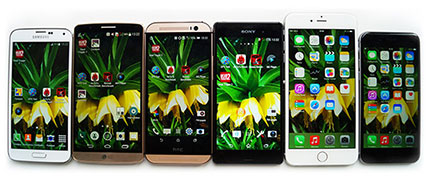 фото Lg G3, Sony Xperia Z3, Samsung Galaxy S5, HTC One M8,	Apple iPhone 6, Apple iPhone 6 Plus сравнение